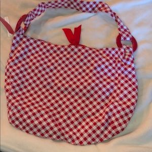 Gingham print shoulder bag-red or black